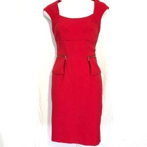 SIGNATURE LONDON STYLE Red Sheath Peplum Dress ~ 4